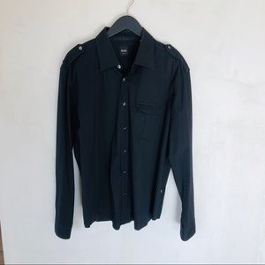 HUGO BOSS • black slim fit button front shirt